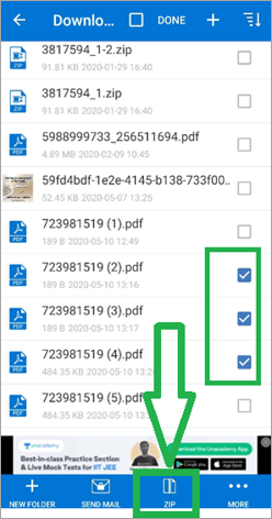 Make ZIP file in Android using Winzip 2